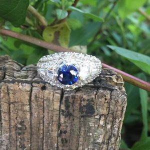 Lowest price. Sapphire and diamond simulant ring.
